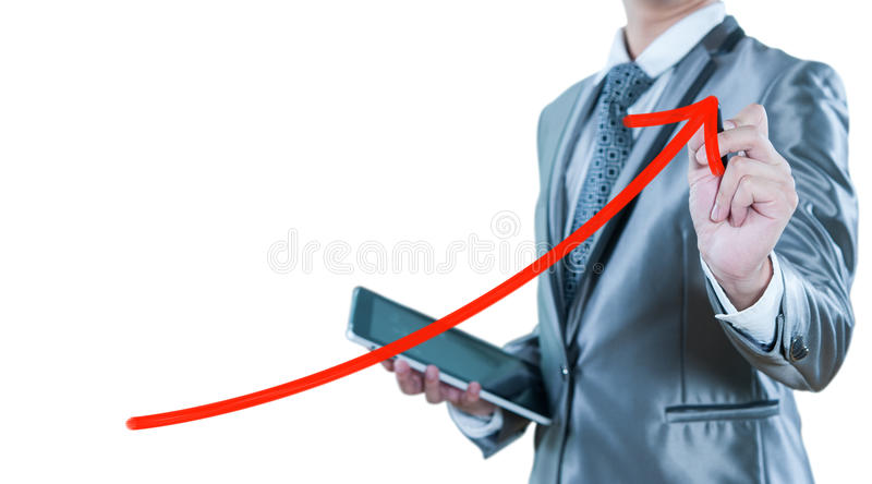 Ο επιχειρηματίας σύρει την κόκκινη γραμμή καμπυλών, επιχειρησιακή στρατηγική στοκ εικόνα