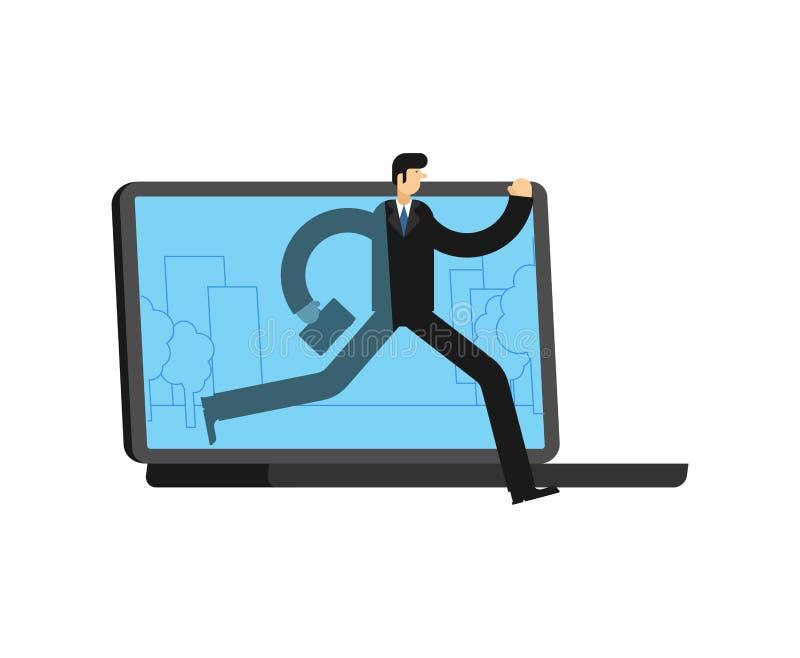 Ο επιχειρηματίας τρέχει μακριά το lap-top Το άτομο πηγαίνει off-$l*line Στάση έννοιας σε απευθείας σύνδεση Διαφυγή από Διαδίκτυο διανυσματική απεικόνιση