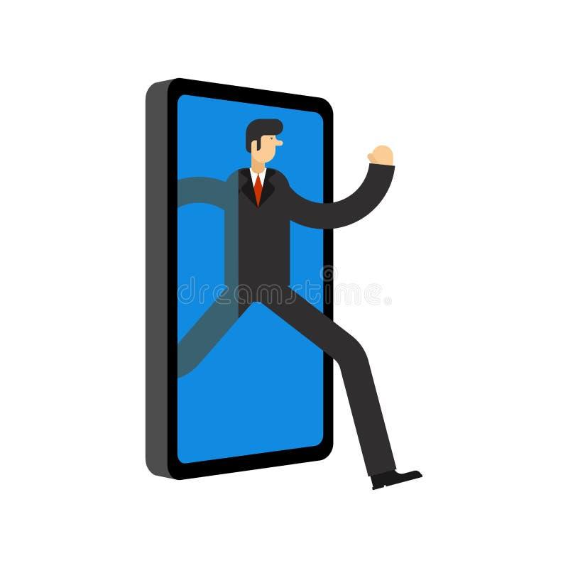 Ο επιχειρηματίας τρέχει μακριά το smartphone Το άτομο πηγαίνει off-$l*line Στάση έννοιας σε απευθείας σύνδεση Διαφυγή από Διαδίκτ διανυσματική απεικόνιση
