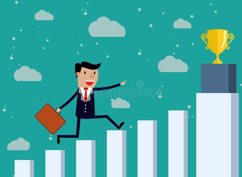 Ο επιχειρηματίας τρέχει την οικονομική γραφική παράσταση φραγμών ελεύθερη απεικόνιση δικαιώματος