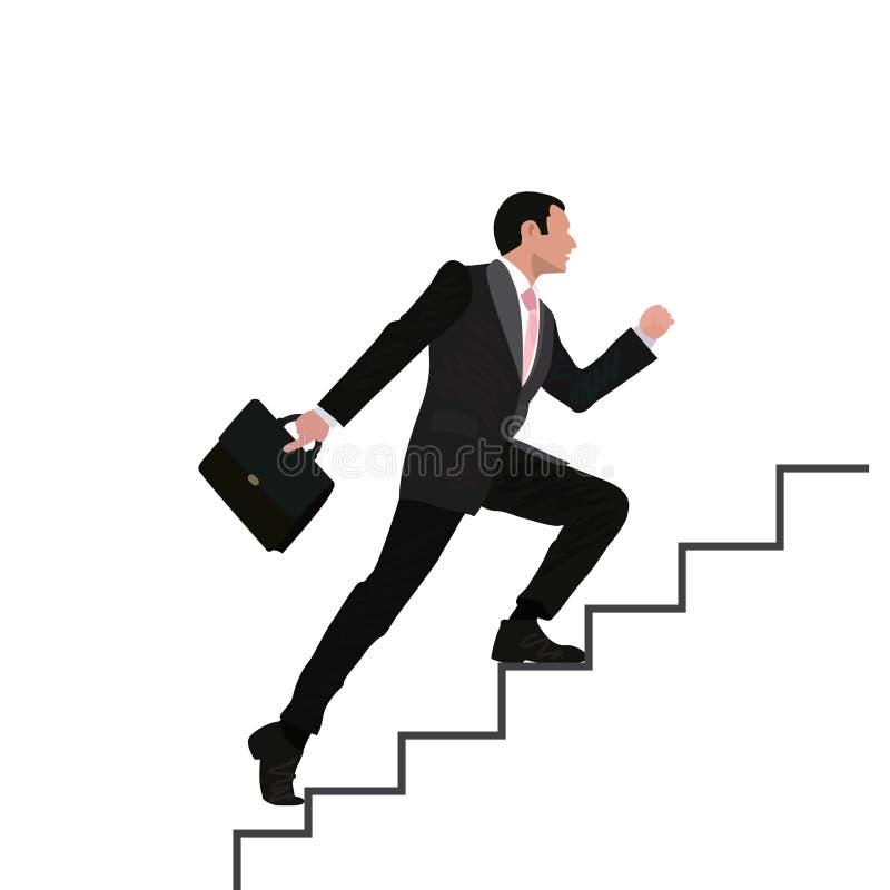 Ο επιχειρηματίας τρέχει το οικονομικό επιχειρησιακό άτομο κινούμενων σχεδίων γραφικών παραστάσεων φραγμών που αναρριχείται στην ε απεικόνιση αποθεμάτων
