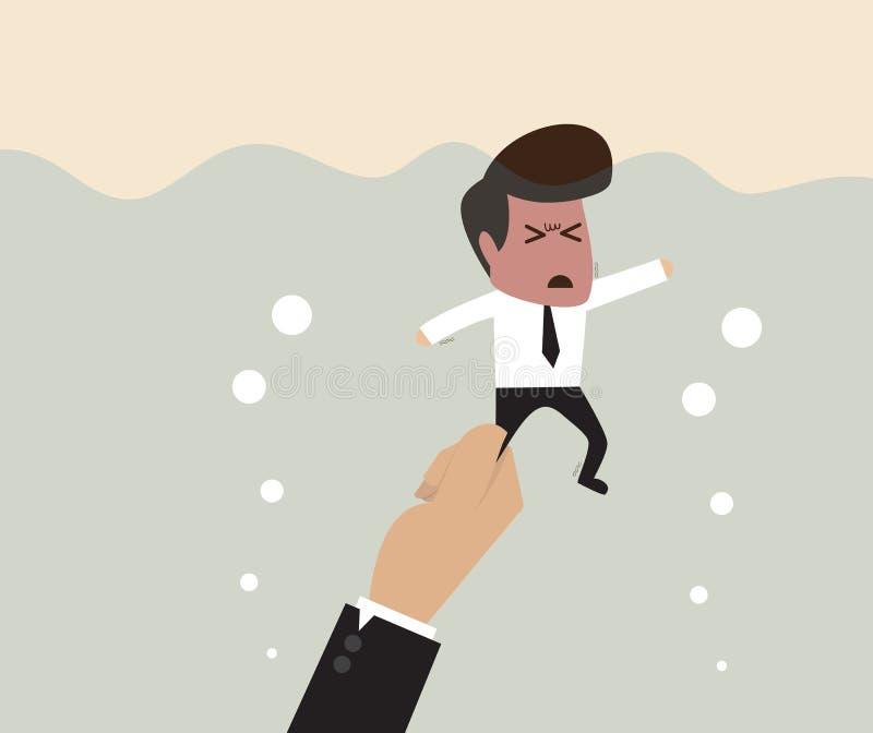 Ο επιχειρηματίας τραβιέται υποβρύχιος από το μεγάλο χέρι διανυσματική απεικόνιση