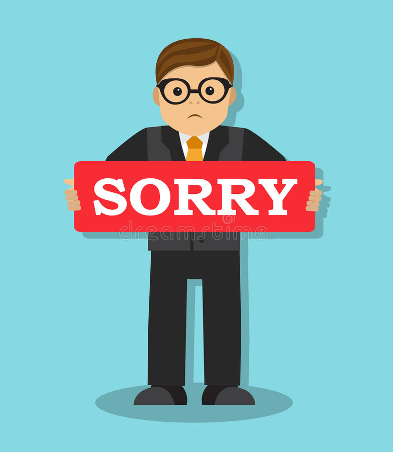 Ο επιχειρηματίας λυπάται για και θέλει για να διορθώσει το λάθος ελεύθερη απεικόνιση δικαιώματος