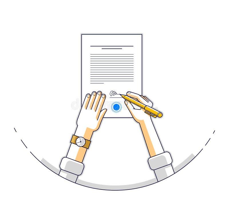 Ο επιχειρηματίας υπογράφει το επίσημο έγγραφο εγγράφου συμβάσεων με τη σφραγίδα ελεύθερη απεικόνιση δικαιώματος