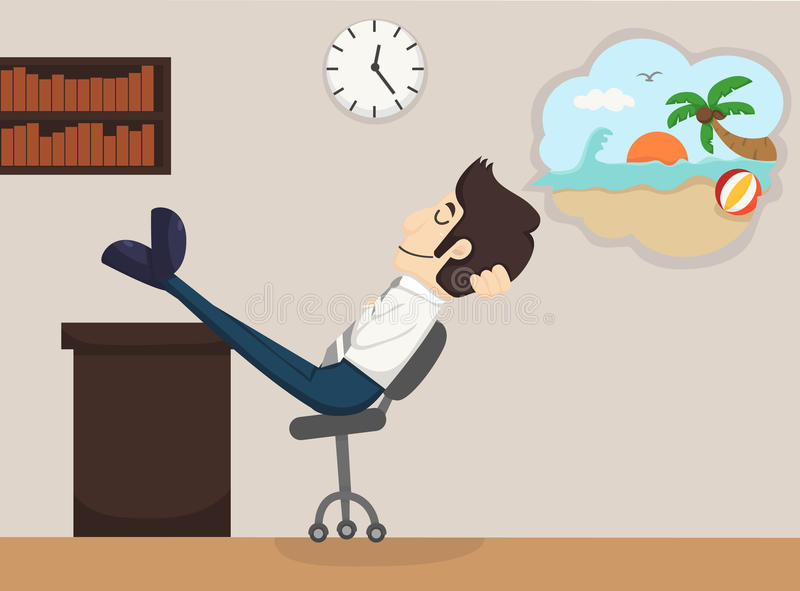 Ο επιχειρηματίας χαλαρώνει το όνειρο διανυσματική απεικόνιση