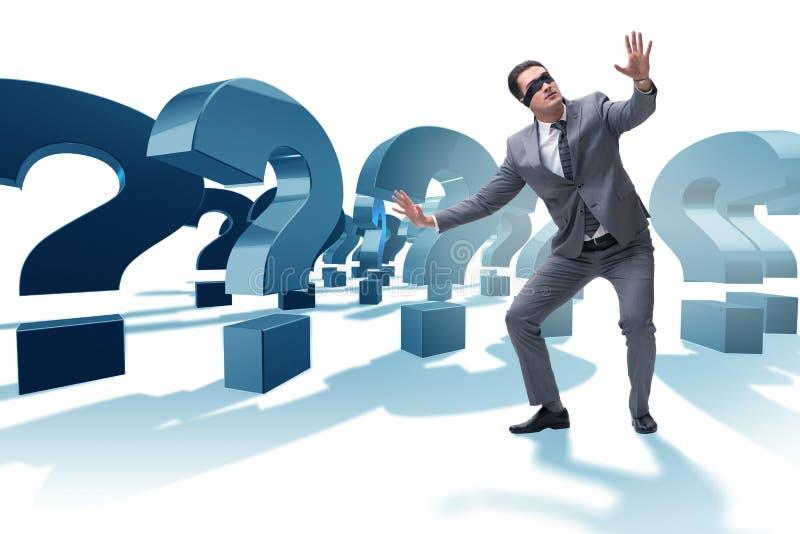 Ο επιχειρηματίας blindfold στη incertainty έννοια που απομονώνεται στο λευκό στοκ φωτογραφία με δικαίωμα ελεύθερης χρήσης