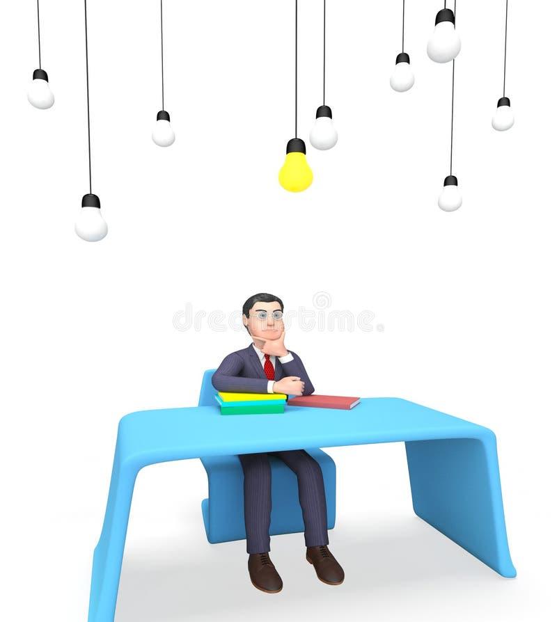 Ο επιχειρηματίας Lightbulbs παρουσιάζει τις πηγές ισχύος και έννοια τρισδιάστατη απόδοση απεικόνιση αποθεμάτων