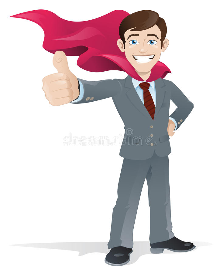 Ο επιχειρηματίας Superhero δίνει τους αντίχειρες επάνω ελεύθερη απεικόνιση δικαιώματος