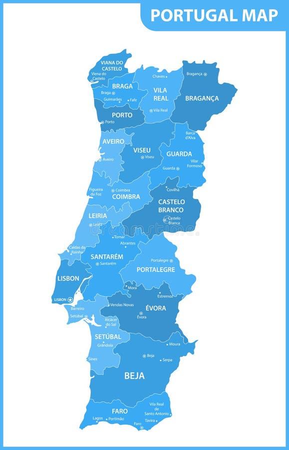 Ο λεπτομερής χάρτης της Πορτογαλίας με τις περιοχές ή τα κράτη και τις πόλεις, κεφάλαια απεικόνιση αποθεμάτων