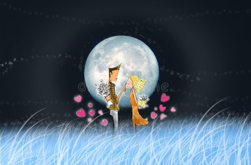Ο εραστής στη νύχτα πανσελήνων απεικόνιση αποθεμάτων
