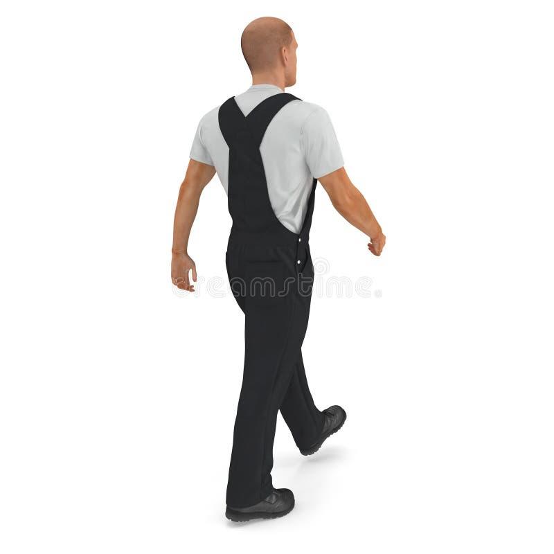 Ο εργάτης οικοδομών που φορά τις μαύρες φόρμες που περπατούν θέτει απεικόνιση, που απομονώνεται τρισδιάστατη, στο λευκό διανυσματική απεικόνιση