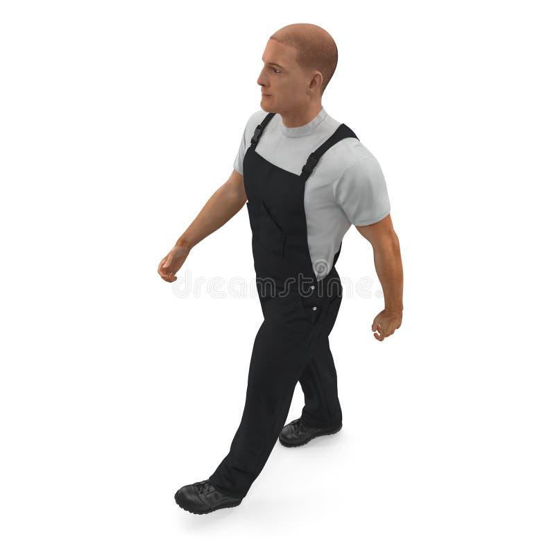 Ο εργάτης οικοδομών που φορά τις μαύρες φόρμες που περπατούν θέτει απεικόνιση, που απομονώνεται τρισδιάστατη, στο λευκό απεικόνιση αποθεμάτων