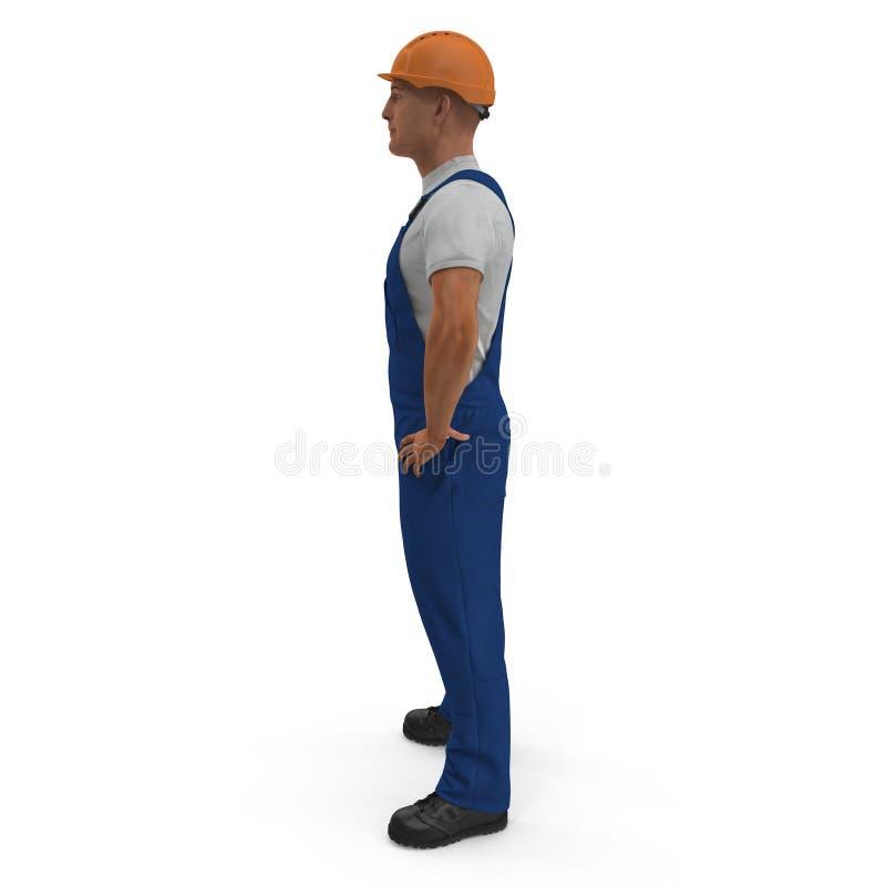 Ο εργάτης οικοδομών σε μπλε συνολικά με Hardhat που στέκεται θέτει απομονωμένος στο άσπρο υπόβαθρο τρισδιάστατη απεικόνιση διανυσματική απεικόνιση