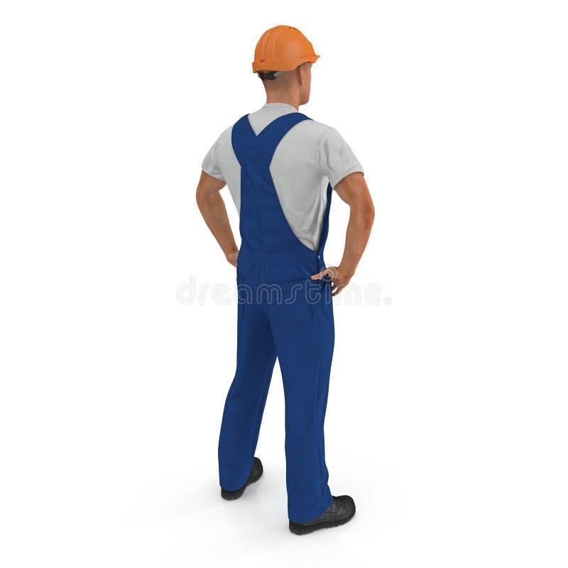 Ο εργάτης οικοδομών σε μπλε συνολικά με Hardhat που στέκεται θέτει απομονωμένος στο άσπρο υπόβαθρο τρισδιάστατη απεικόνιση απεικόνιση αποθεμάτων