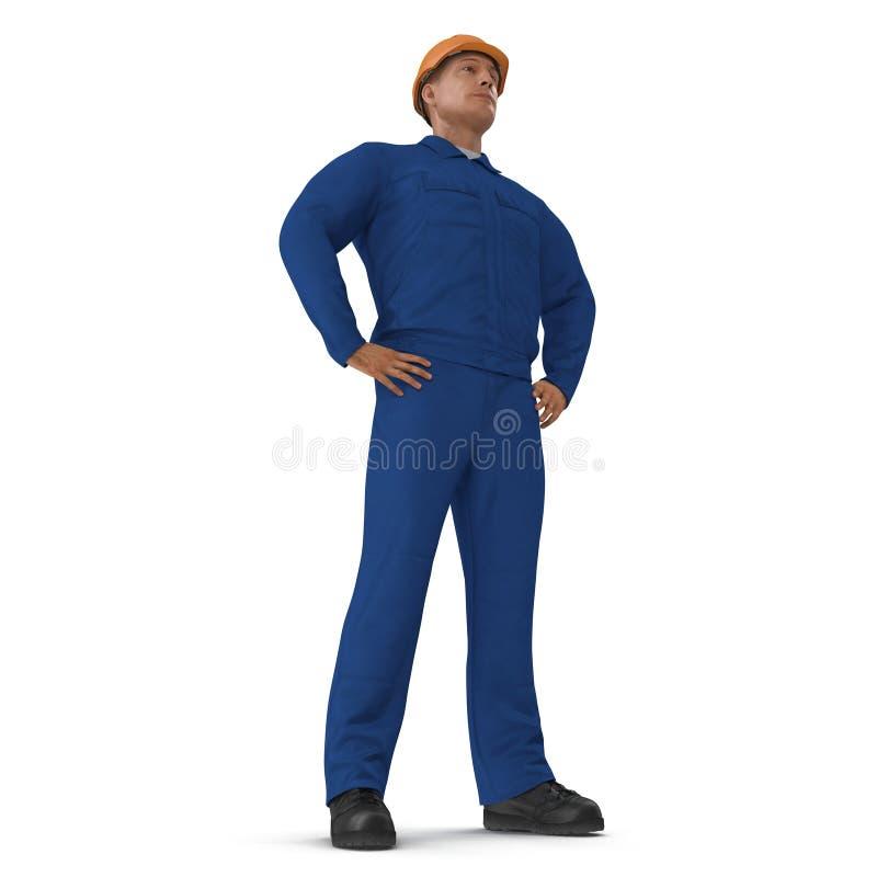 Ο εργάτης οικοδομών στην μπλε φόρμα με Hardhat που στέκεται θέτει απομονωμένος στο άσπρο υπόβαθρο τρισδιάστατη απεικόνιση απεικόνιση αποθεμάτων