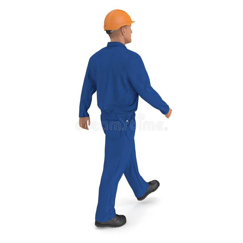 Ο εργάτης οικοδομών στην μπλε φόρμα με Hardhat που στέκεται θέτει απεικόνιση, που απομονώνεται τρισδιάστατη, στο λευκό διανυσματική απεικόνιση