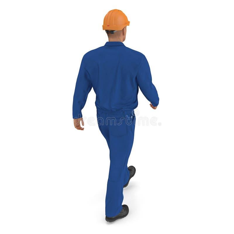 Ο εργάτης οικοδομών στην μπλε φόρμα με Hardhat που στέκεται θέτει απεικόνιση, που απομονώνεται τρισδιάστατη, στο λευκό ελεύθερη απεικόνιση δικαιώματος