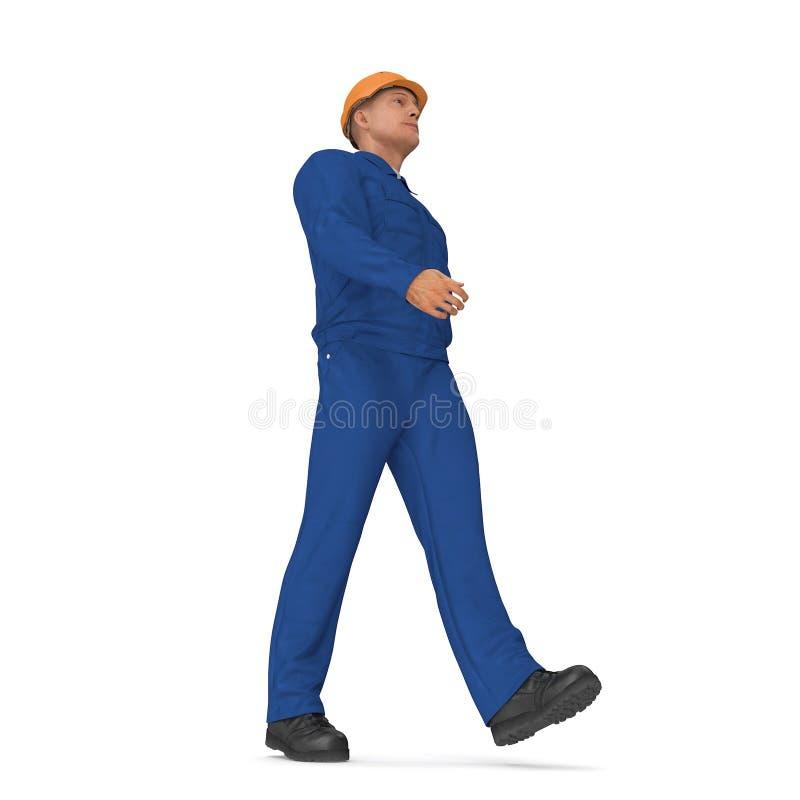 Ο εργάτης οικοδομών στην μπλε φόρμα με Hardhat που στέκεται θέτει απεικόνιση, που απομονώνεται τρισδιάστατη, στο λευκό απεικόνιση αποθεμάτων