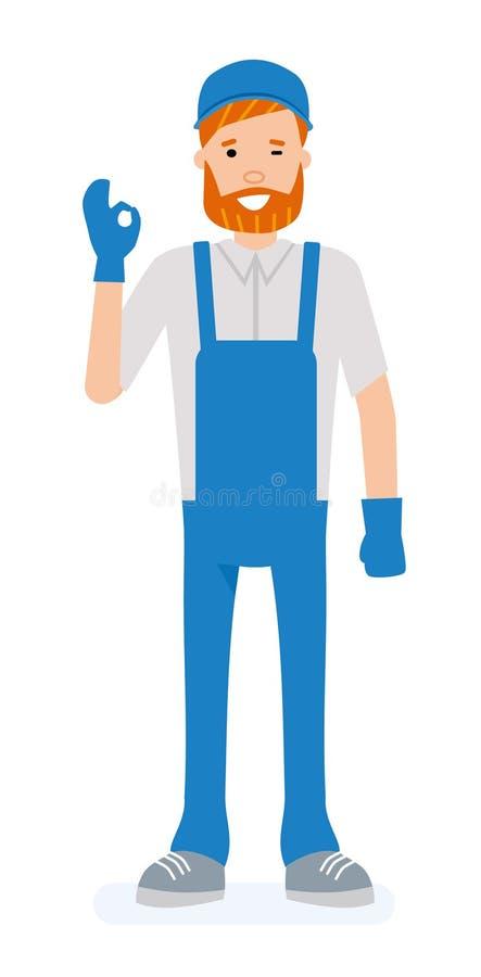 Ο εργαζόμενος αποθηκών εμπορευμάτων που παρουσιάζει την α-εντάξει χειρονομία και γέλιο χεριών που απομονώνονται στο άσπρο υπόβαθρ διανυσματική απεικόνιση