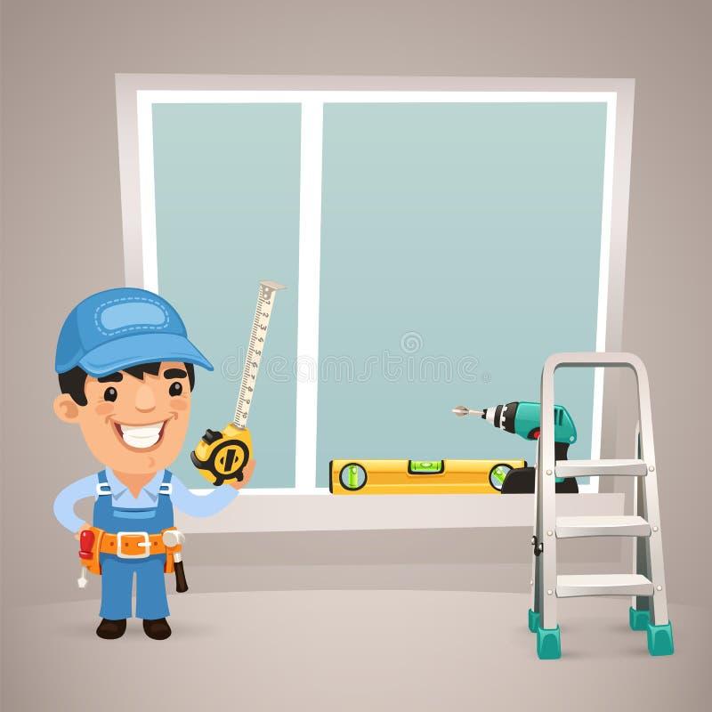 Ο εργαζόμενος εγκαθιστά το παράθυρο διανυσματική απεικόνιση