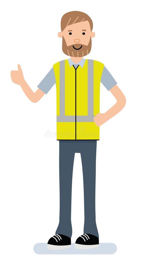 Ο ευτυχής αποθηκάριος παρουσιάζει τον αντίχειρα Το εργαζόμενο πρόσωπο χαρακτήρα κινουμένων σχεδίων διευθυντών αποθηκών εμπορευμάτ διανυσματική απεικόνιση