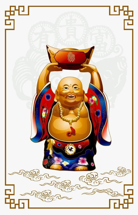 Ο ευτυχής Βούδας που φέρνει τα χρυσά χρήματα απεικόνιση αποθεμάτων