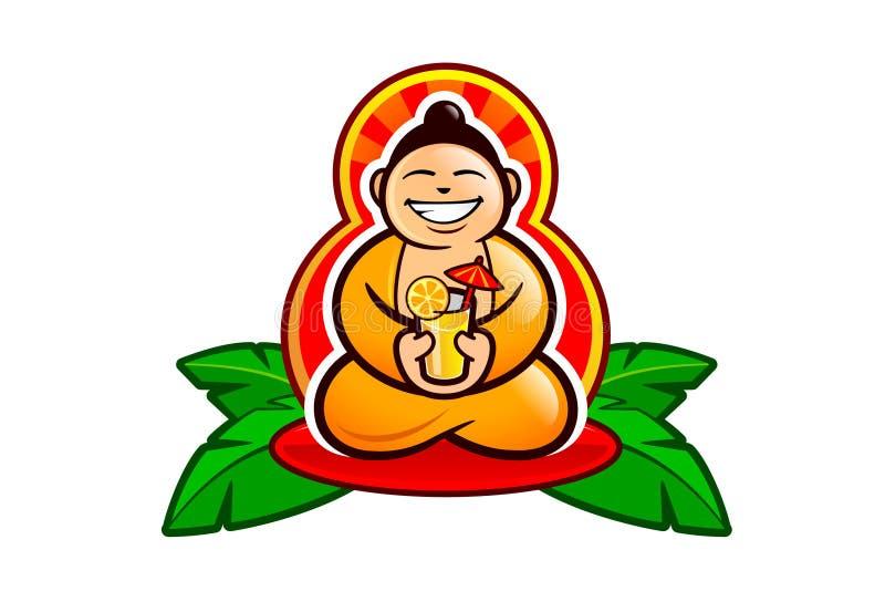 Ο ευτυχής γελώντας Βούδας με ένα κοκτέιλ διανυσματική απεικόνιση