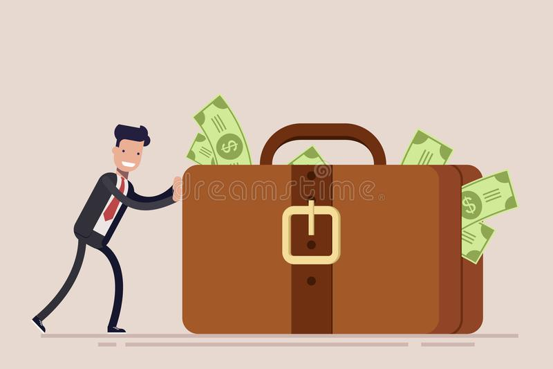 Ο ευτυχής επιχειρηματίας ή ο διευθυντής ωθεί μια τεράστιο βαλίτσα ή έναν χαρτοφύλακα με τα χρήματα Η έννοια της κλοπής ή της δωρο ελεύθερη απεικόνιση δικαιώματος