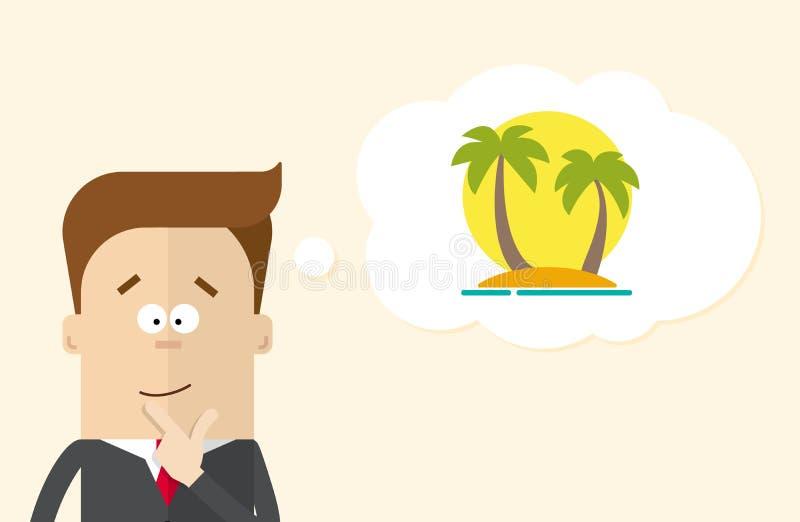Ο ευτυχής επιχειρηματίας ή ο διευθυντής φαντάζεται τις διακοπές στο νησί Ένα άτομο σε ένα επιχειρησιακό κοστούμι που σκέφτεται γι ελεύθερη απεικόνιση δικαιώματος