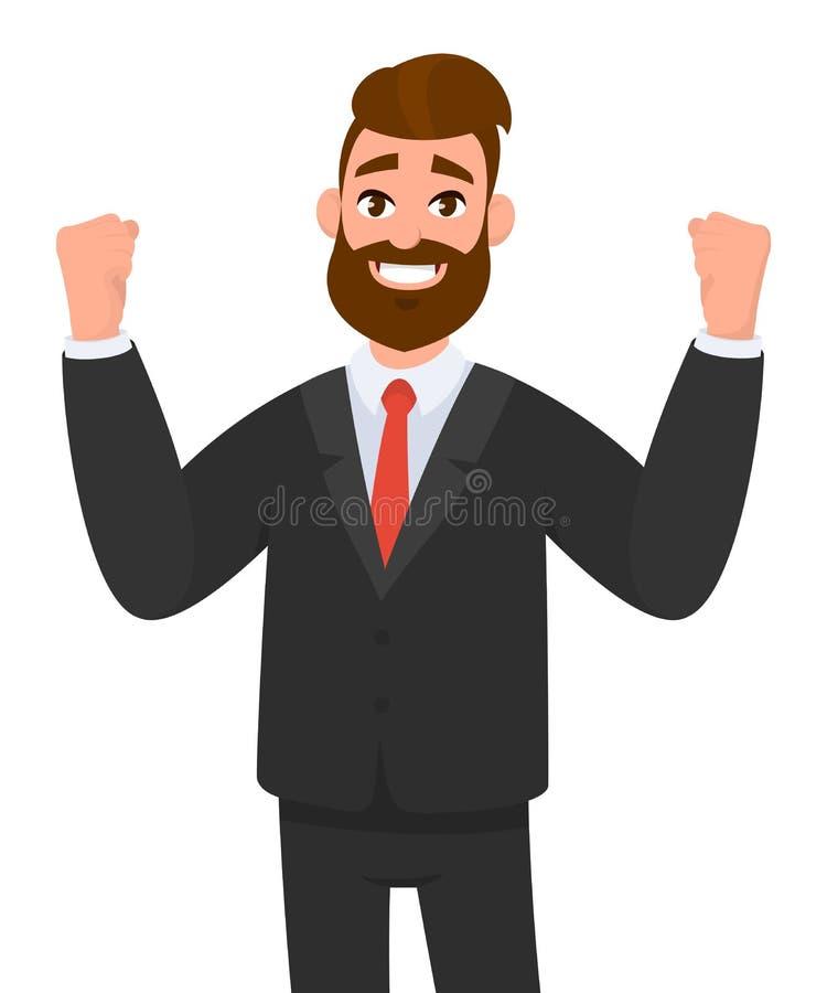 Ο ευτυχής επιχειρηματίας αυξάνει παραδίδει τις πυγμές και την ευτυχία και την επιτυχία Θετική ανθρώπινη έκφραση του προσώπου συγκ ελεύθερη απεικόνιση δικαιώματος