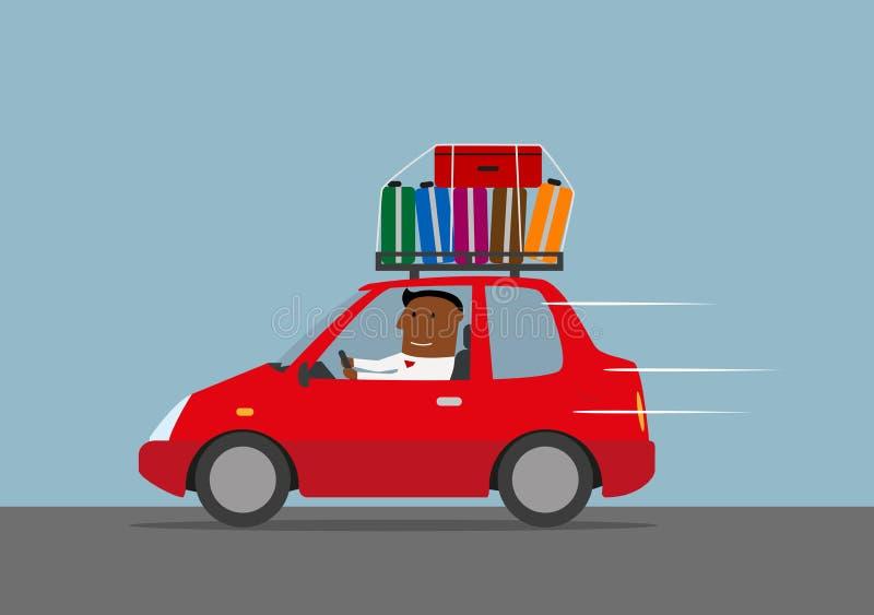 Ο ευτυχής επιχειρηματίας πηγαίνει στις διακοπές με το αυτοκίνητο ελεύθερη απεικόνιση δικαιώματος