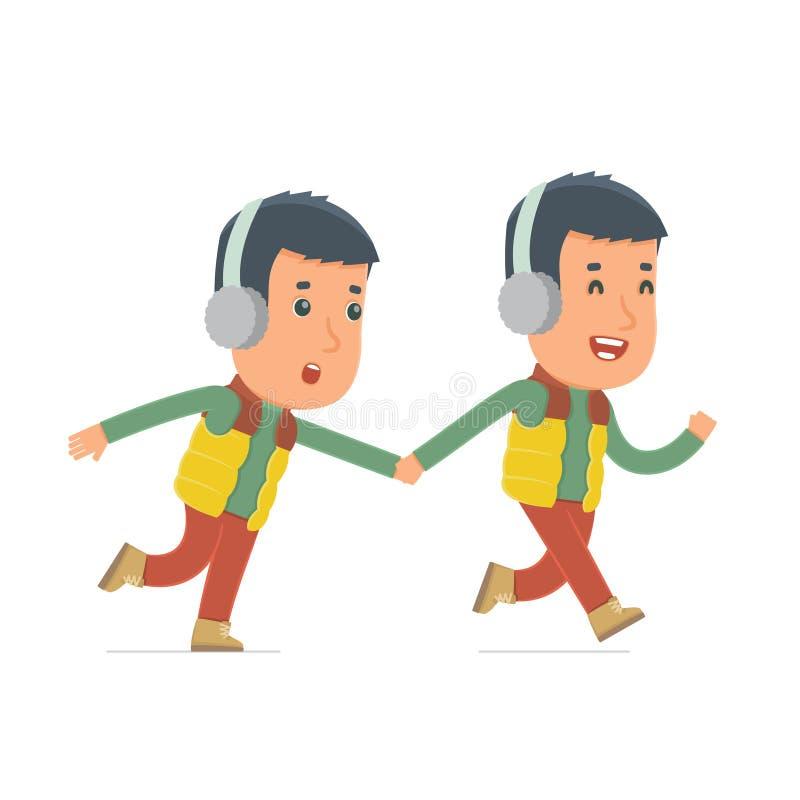 Ο ευτυχής και χαρούμενος χειμερινός πολίτης χαρακτήρα τρέχει και σέρνει το φίλο του διανυσματική απεικόνιση