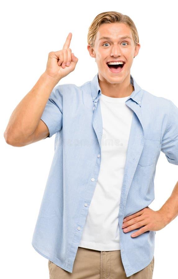 Ο ευτυχής νεαρός άνδρας απομονώνει την καλή ιδέα στο άσπρο υπόβαθρο στοκ φωτογραφία