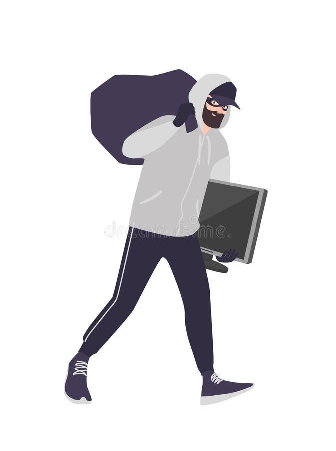 Ο εύθυμος αρσενικός κλέφτης που φορούν τη μάσκα, η ΚΑΠ και hoodie η μεταφορά τοποθετούν σε σάκκο και TV Το γενειοφόρο άτομο διαπρ διανυσματική απεικόνιση