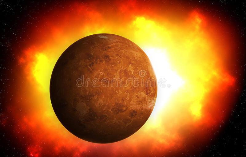 ο δεύτερος πλανήτης από τον ήλιο είναι η Αφροδίτη, ηλιακό σύστημα στοκ εικόνες