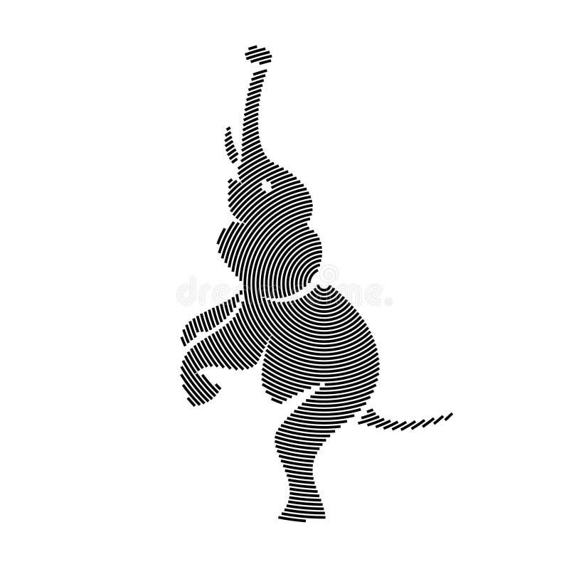 Ο ελέφαντας είναι εντελώς χαραγμένη ζωική διανυσματική γραφική παράσταση απεικόνιση αποθεμάτων