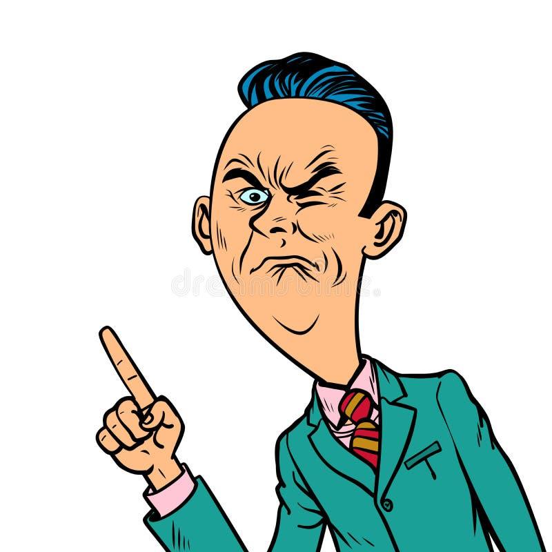 Ο ζαρωμένος δυσάρεστος κακός επιχειρηματίας δείχνει τη χειρονομία δάχτυλων απεικόνιση αποθεμάτων