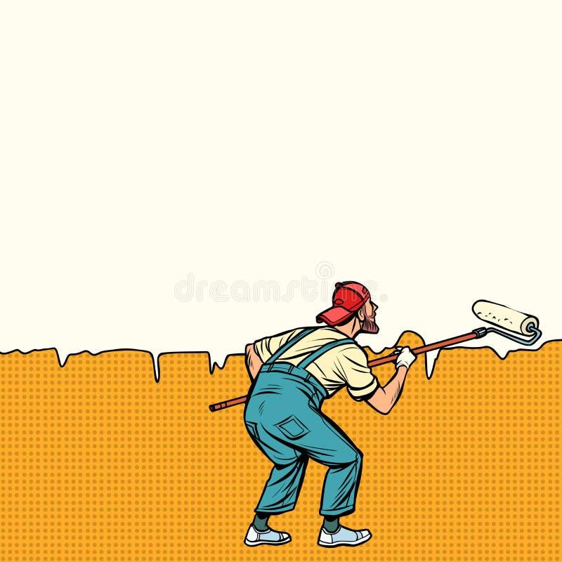 Ο ζωγράφος εργαζομένων χρωματίζει τον τοίχο στη μέση ελεύθερη απεικόνιση δικαιώματος