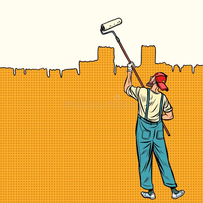 Ο ζωγράφος χρωματίζει τον τοίχο στην κορυφή απεικόνιση αποθεμάτων
