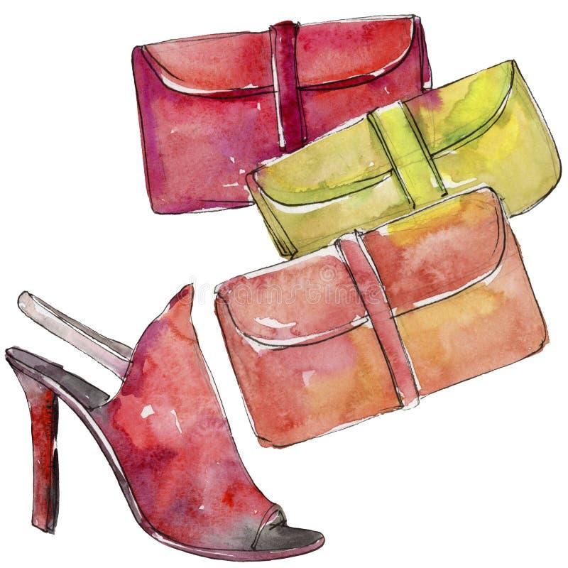 Ο ζωηρόχρωμοι συμπλέκτης και το σκίτσο παπουτσιών διαμορφώνουν την απεικόνιση γοητείας σε ένα ύφος watercolor που απομονώνεται διανυσματική απεικόνιση