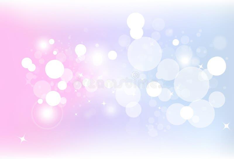 Ο ζωηρόχρωμος αέρας φυσαλίδων θαμπάδων bokeh φαντασίας με τη σκόνη αστεριών ακτινοβολεί s διανυσματική απεικόνιση