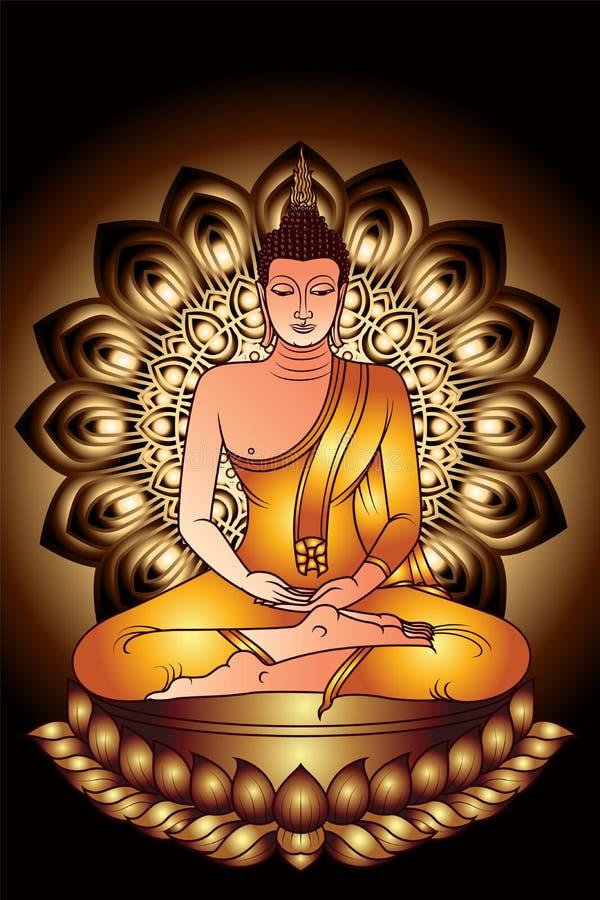 Ο ζωηρόχρωμος Βούδας με το σκοτεινό χρυσό διανυσματική απεικόνιση