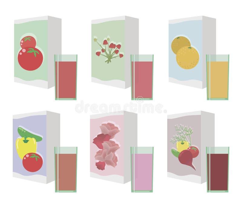 Ο ζωηρόχρωμος φωτεινός ζωηρόχρωμος χυμός με το λαχανικό μούρων γυαλιών γυαλιού που απομονώνεται στο άσπρο υπόβαθρο αντιτίθεται δι διανυσματική απεικόνιση