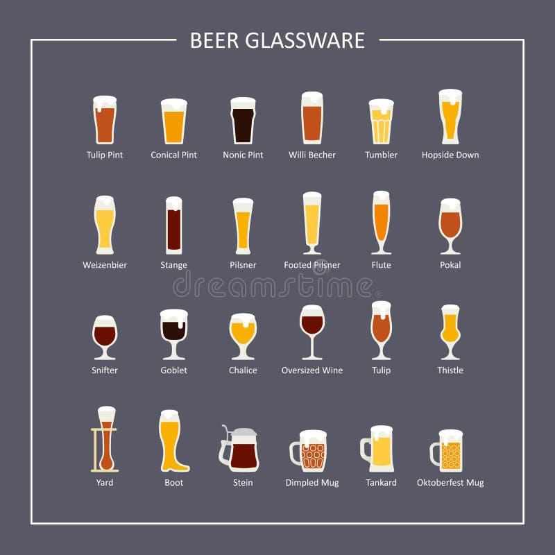 Οδηγός γυαλικών μπύρας, επίπεδα εικονίδια σχετικά με το σκοτεινό υπόβαθρο διάνυσμα διανυσματική απεικόνιση