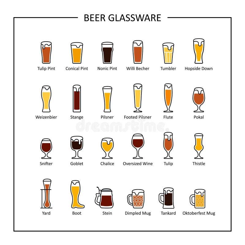Οδηγός γυαλικών μπύρας, χρωματισμένα εικονίδια σχετικά με το άσπρο υπόβαθρο διάνυσμα διανυσματική απεικόνιση
