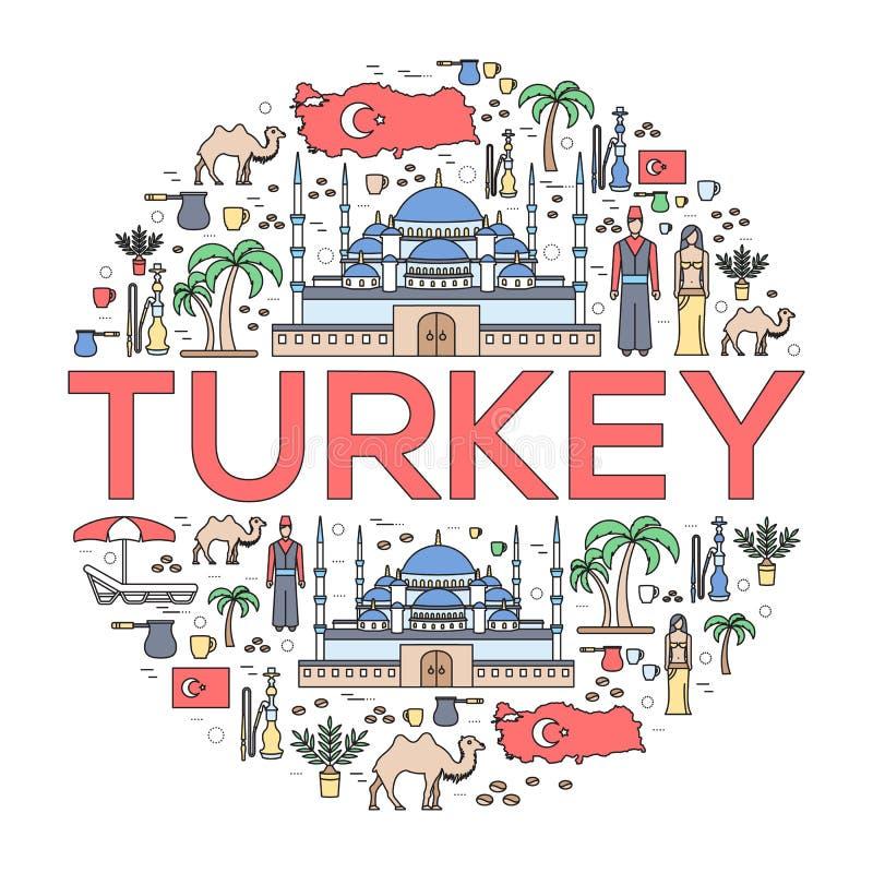 Οδηγός διακοπών ταξιδιού της Τουρκίας χώρας των αγαθών, των θέσεων και των χαρακτηριστικών γνωρισμάτων Σύνολο αρχιτεκτονικής, μόδ ελεύθερη απεικόνιση δικαιώματος