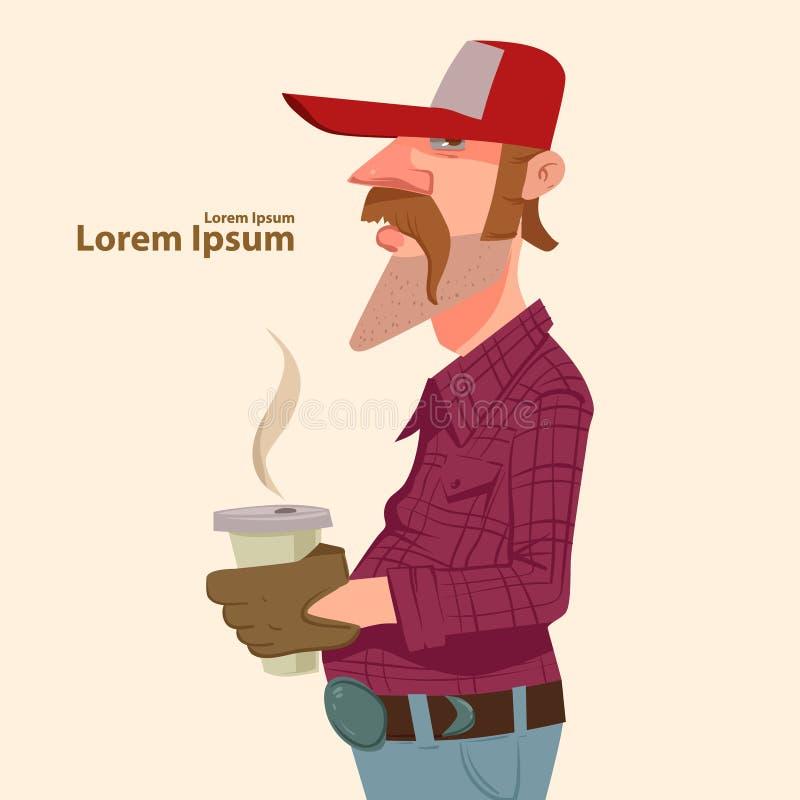 Οδηγός με τον καφέ ελεύθερη απεικόνιση δικαιώματος
