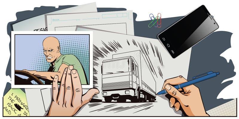 Οδηγός πίσω από τη ρόδα του φορτηγού διανυσματική απεικόνιση