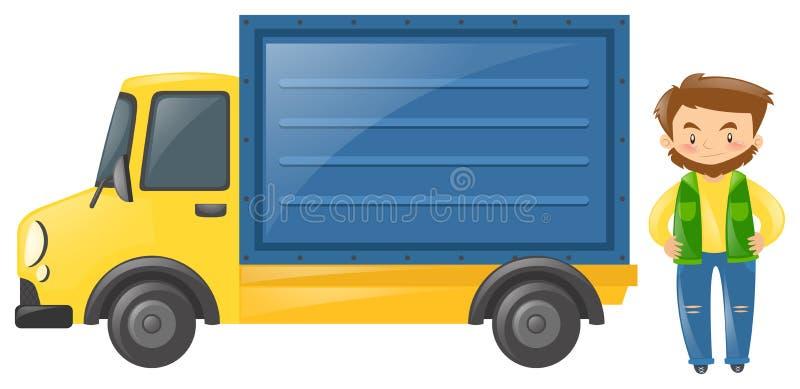 Οδηγός που υπερασπίζεται το φορτηγό διανυσματική απεικόνιση