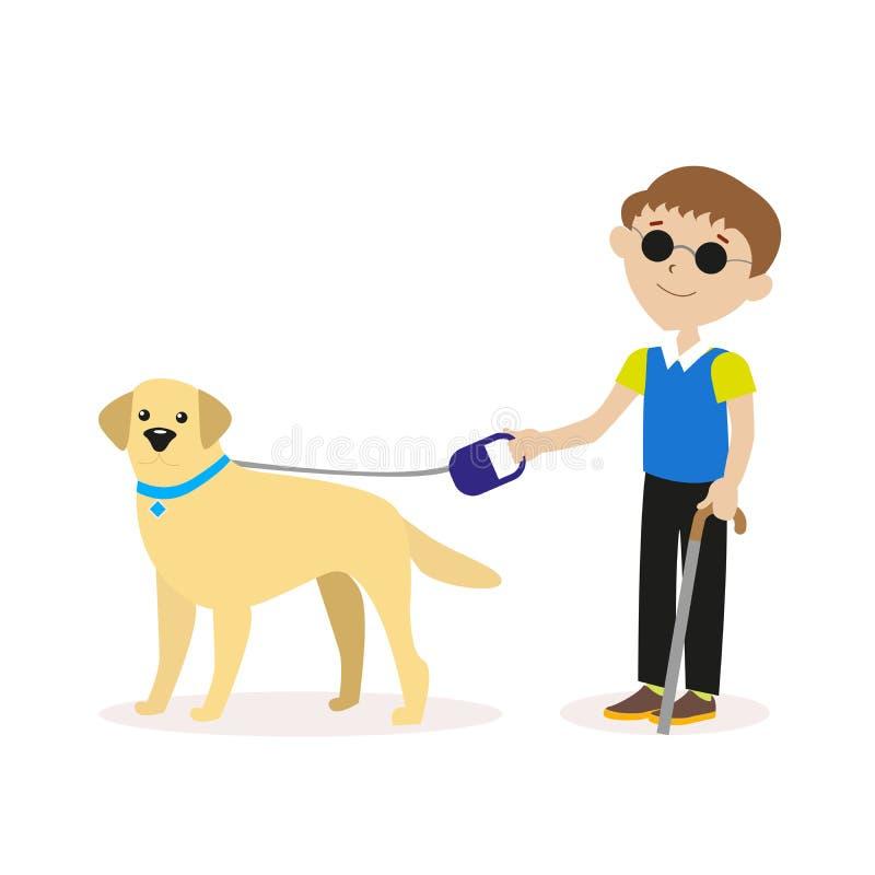 Οδηγός-σκυλί Τυφλό αγόρι με το σκυλί οδηγών Τυφλή έννοια προσώπων ανικανότητας Επίπεδος χαρακτήρας που απομονώνεται στο άσπρο υπό ελεύθερη απεικόνιση δικαιώματος
